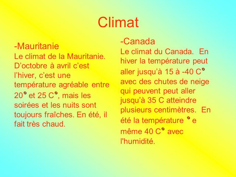 Climat -Mauritanie Le climat de la Mauritanie. Doctobre à avril cest lhiver, cest une température agréable entre °° 20 ° et 25 C °, mais les soirées e