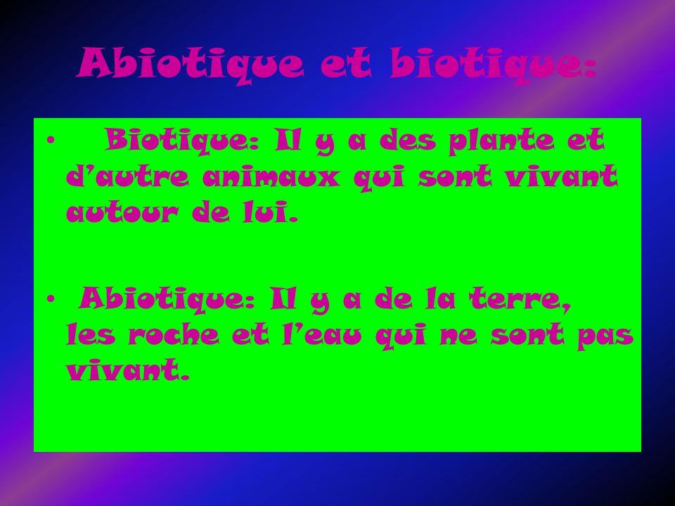 Abiotique et biotique: Biotique: Il y a des plante et dautre animaux qui sont vivant autour de lui.