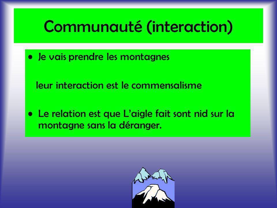 Communauté (interaction) Je vais prendre les montagnes leur interaction est le commensalisme Le relation est que Laigle fait sont nid sur la montagne