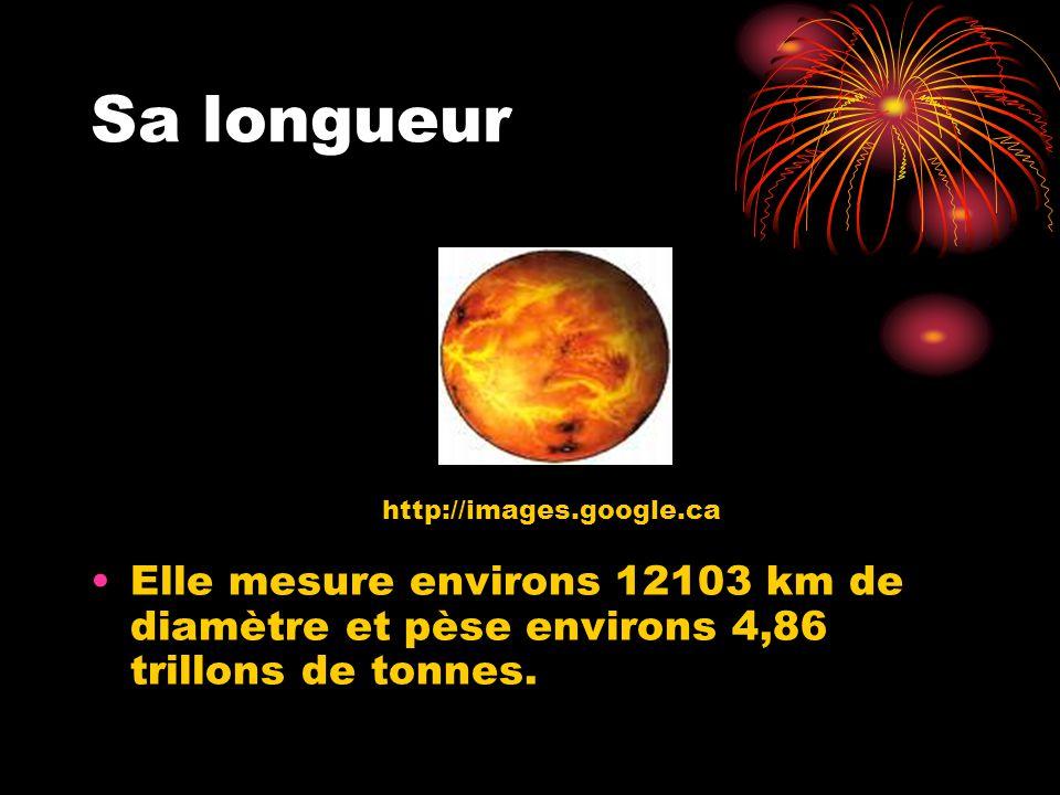 Sa longueur Elle mesure environs 12103 km de diamètre et pèse environs 4,86 trillons de tonnes. http://images.google.ca