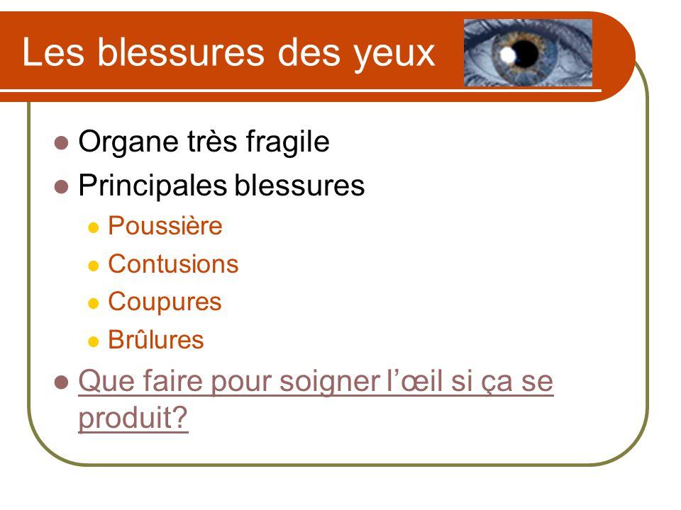 Les blessures des yeux Organe très fragile Principales blessures Poussière Contusions Coupures Brûlures Que faire pour soigner lœil si ça se produit?