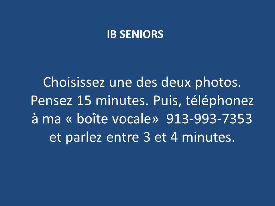 Choisissez une des deux photos. Pensez 15 minutes.