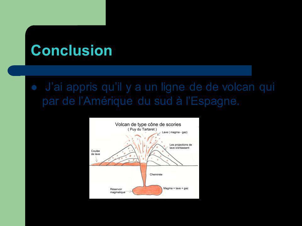 Conclusion Jai appris quil y a un ligne de de volcan qui par de lAmérique du sud à lEspagne.