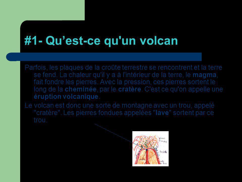 #1- Quest-ce qu'un volcan Parfois, les plaques de la croûte terrestre se rencontrent et la terre se fend. La chaleur qu'il y a à l'intérieur de la ter
