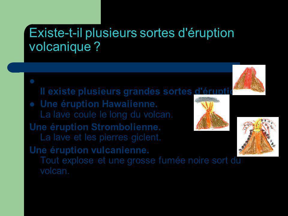 Existe-t-il plusieurs sortes d'éruption volcanique ? Il existe plusieurs grandes sortes d'éruption. Une éruption Hawaiienne. La lave coule le long du