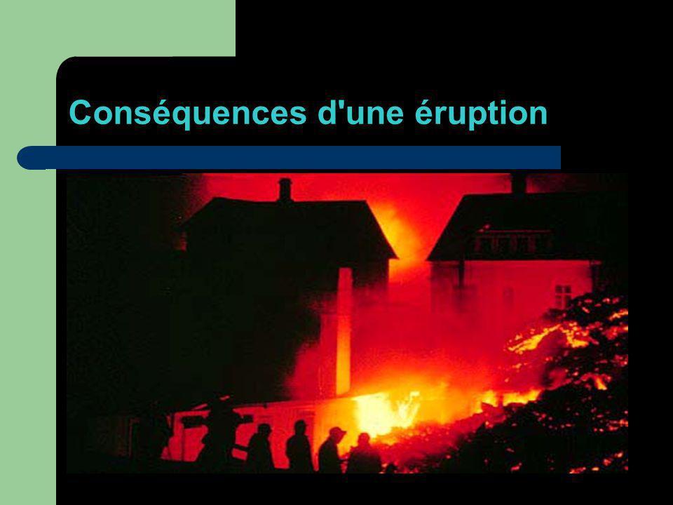 Conséquences d'une éruption Lorsqu'on voit des images d'une éruption volcanique, on voit aussi des forêts, des villes et des villages détruits, brûlés