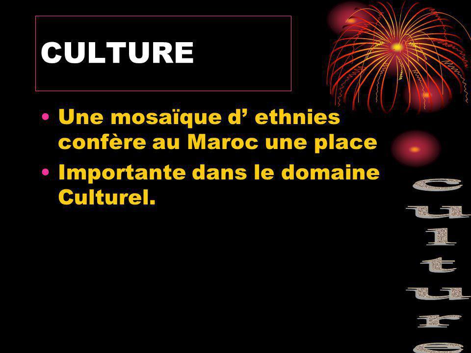 CULTURE Une mosaïque d ethnies confère au Maroc une place Importante dans le domaine Culturel.