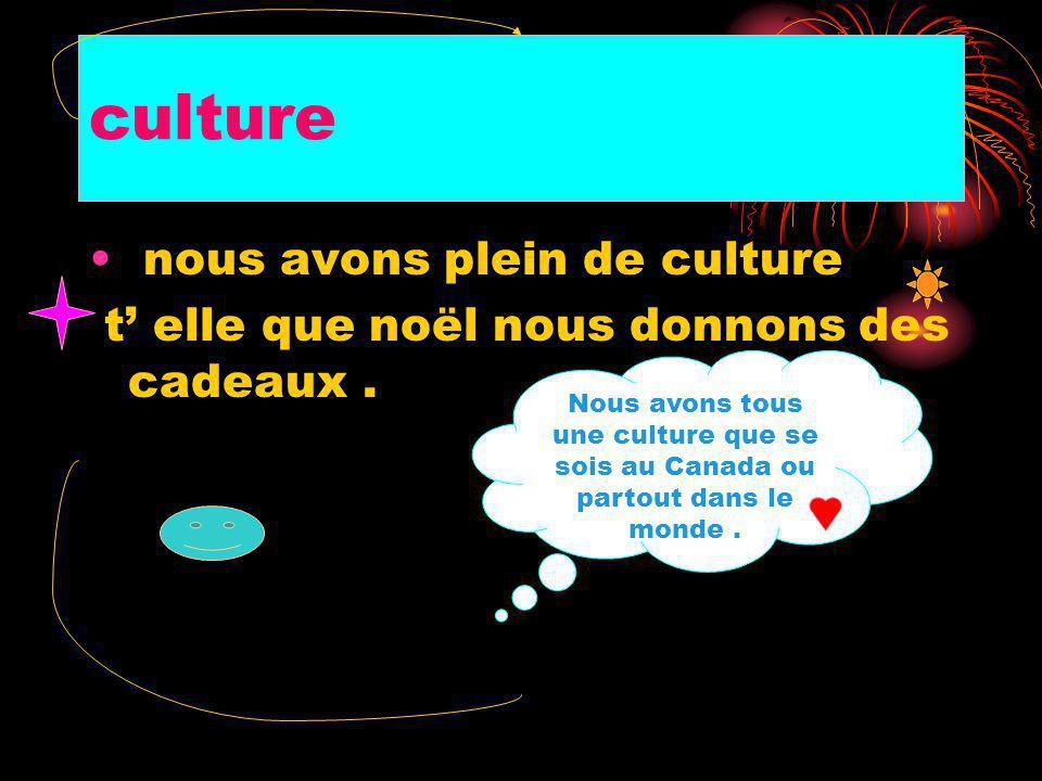 culture nous avons plein de culture t elle que noël nous donnons des cadeaux.
