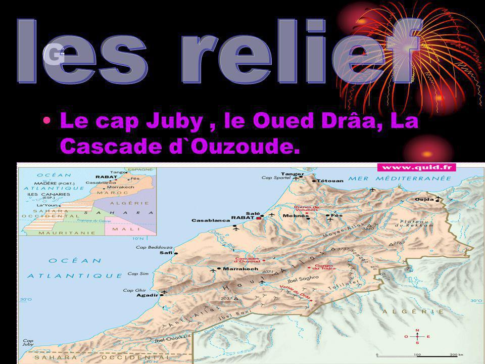 G Le cap Juby, le Oued Drâa, La Cascade d`Ouzoude.