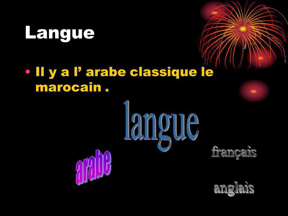 Langue Il y a l arabe classique le marocain.