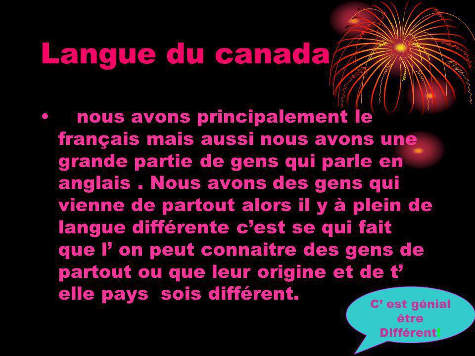 Langue du canada nous avons principalement le français mais aussi nous avons une grande partie de gens qui parle en anglais.