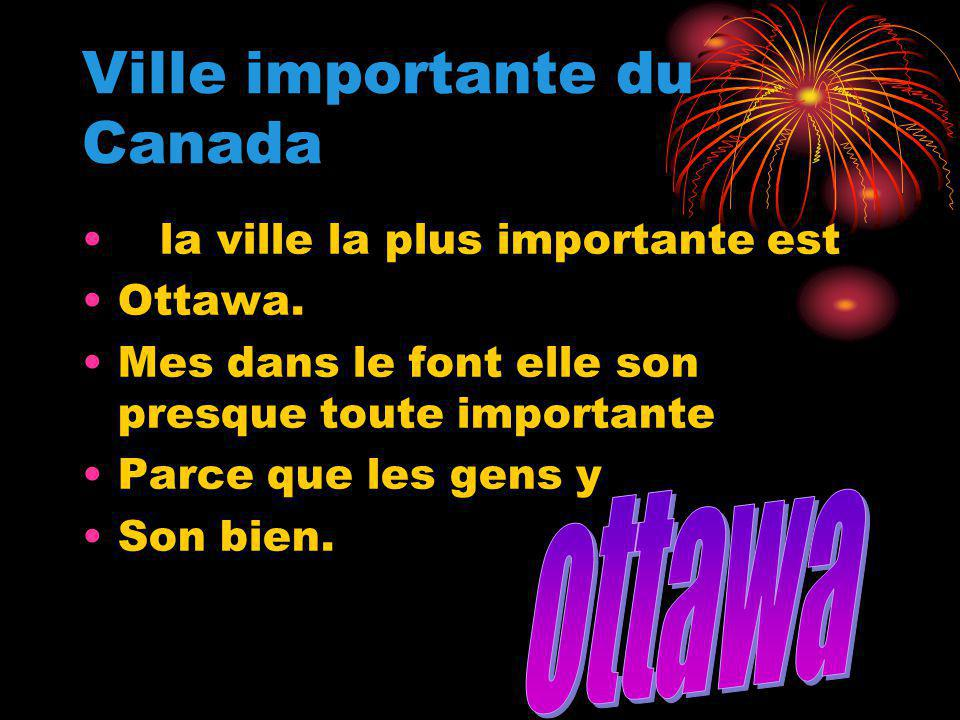 Ville importante du Canada la ville la plus importante est Ottawa.