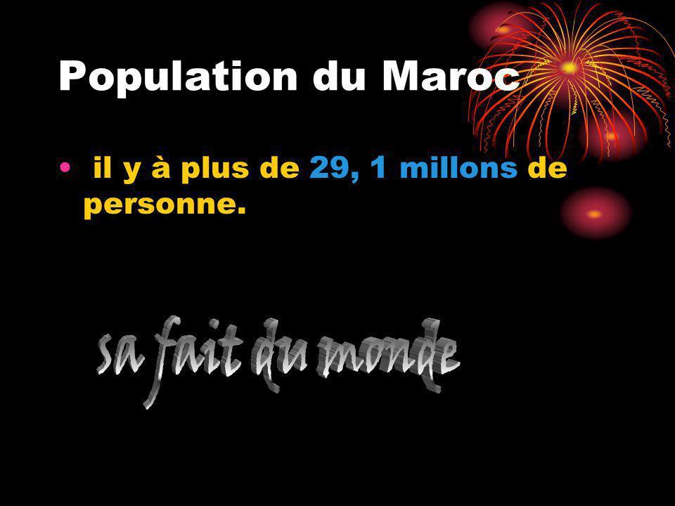 Population du Maroc il y à plus de 29, 1 millons de personne.