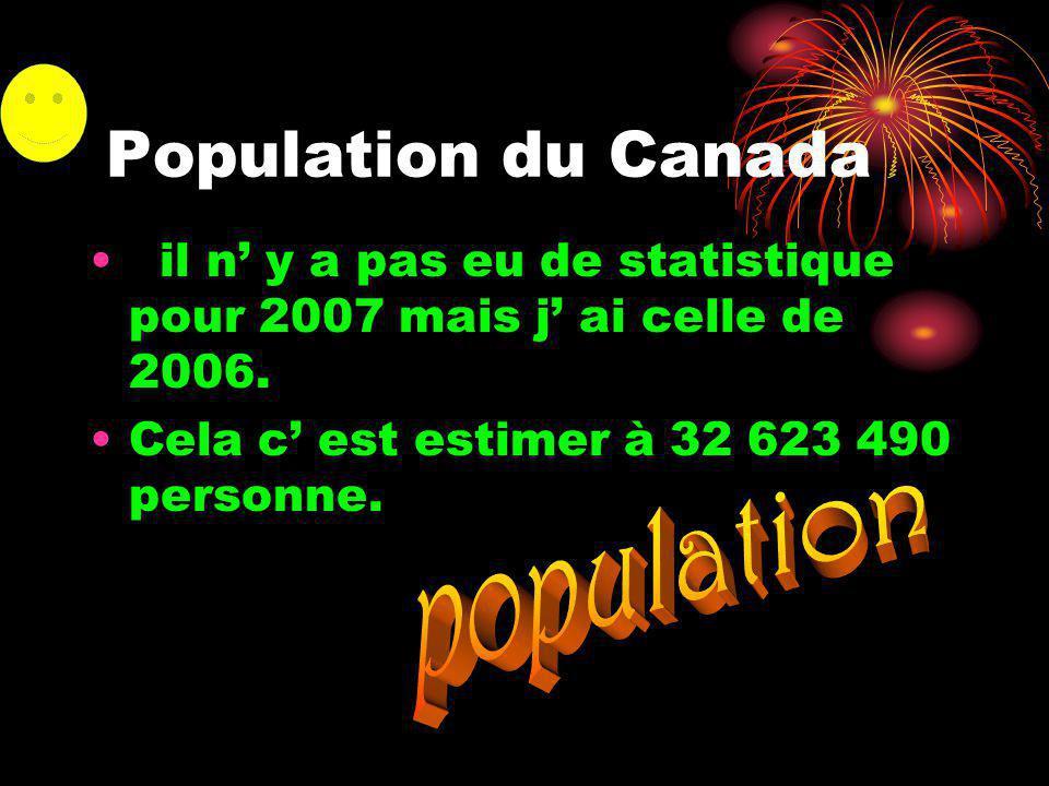 Population du Canada il n y a pas eu de statistique pour 2007 mais j ai celle de 2006.