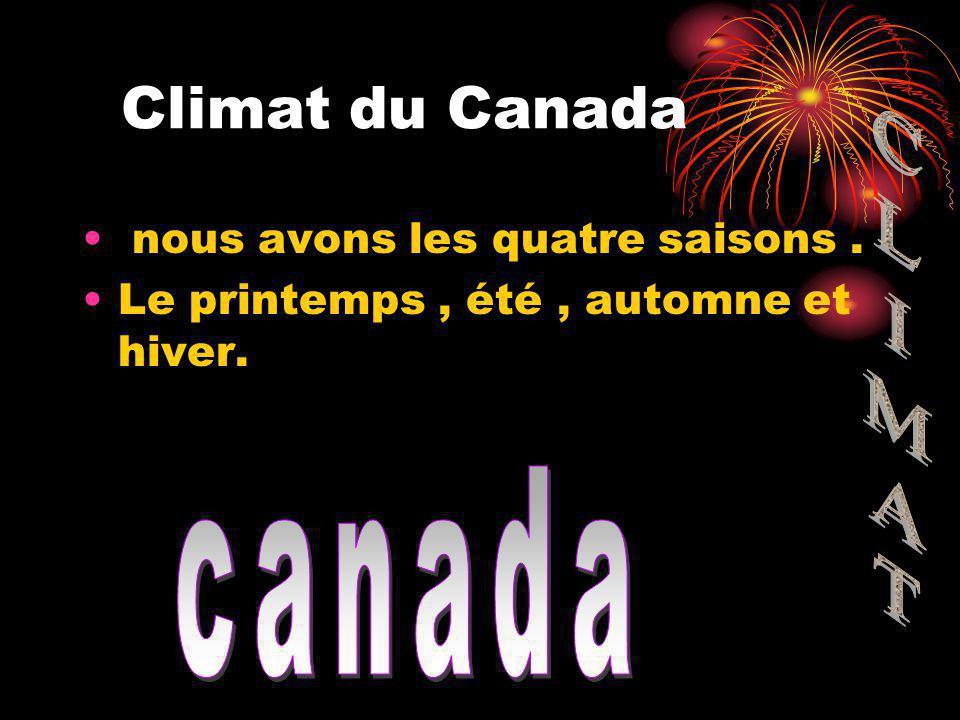 Climat du Canada nous avons les quatre saisons. Le printemps, été, automne et hiver.