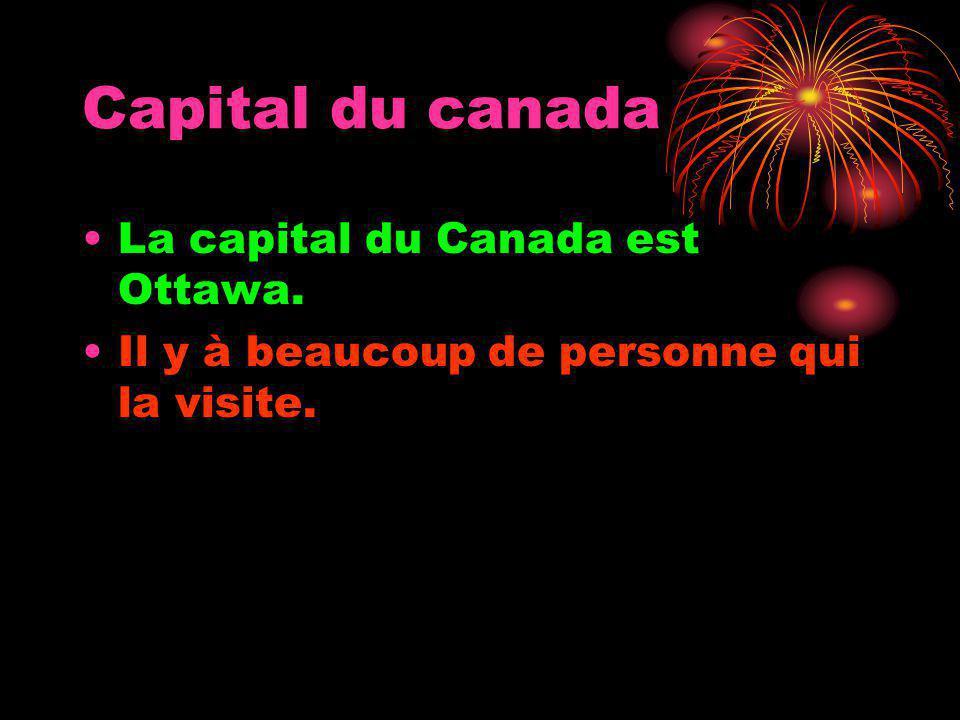 Capital du canada La capital du Canada est Ottawa. Il y à beaucoup de personne qui la visite.