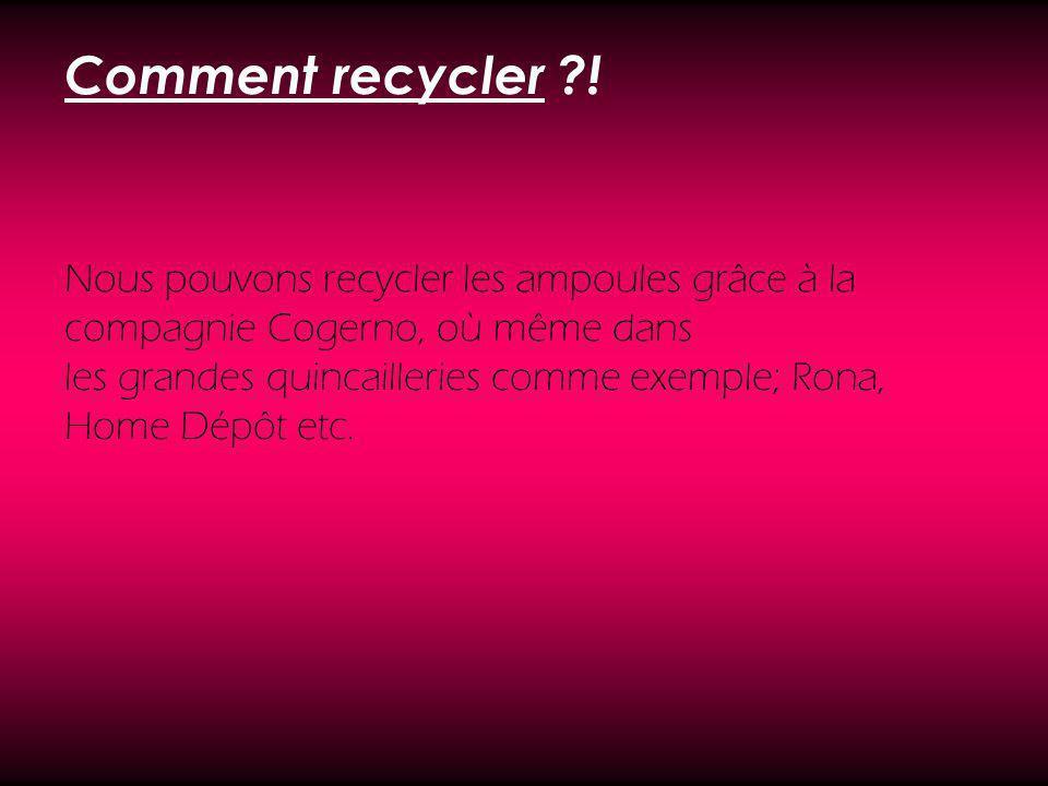 Comment recycler ?! Nous pouvons recycler les ampoules grâce à la compagnie Cogerno, où même dans les grandes quincailleries comme exemple; Rona, Home