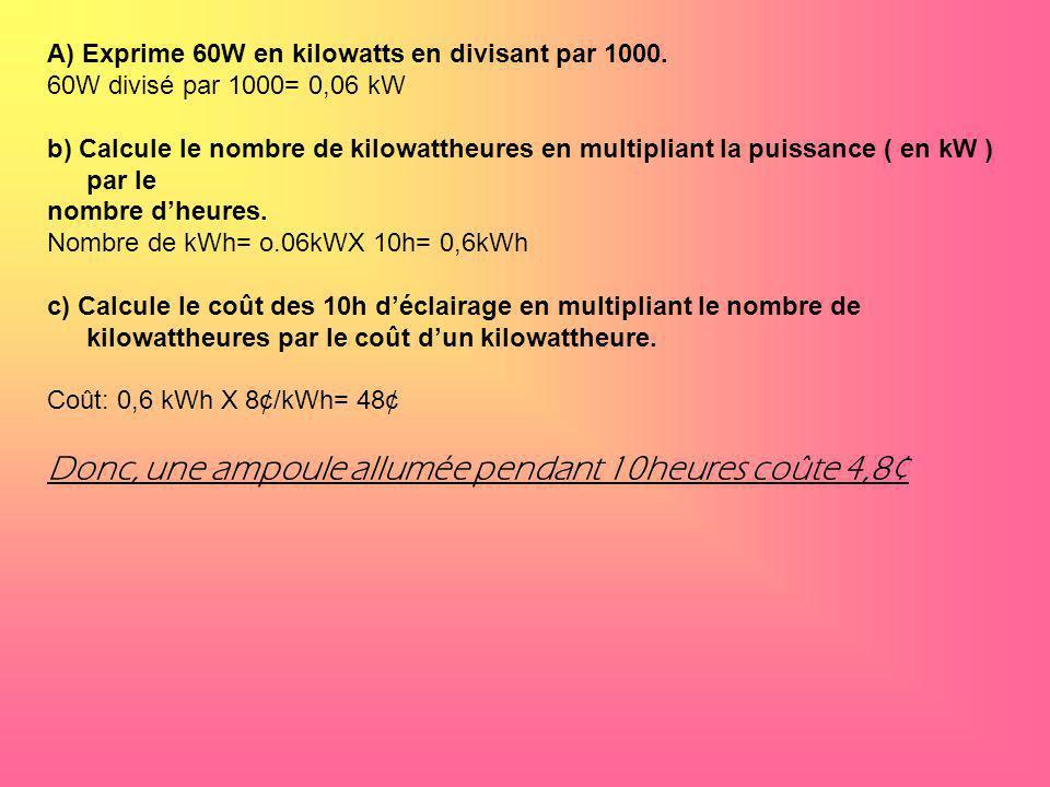 A) Exprime 60W en kilowatts en divisant par 1000. 60W divisé par 1000= 0,06 kW b) Calcule le nombre de kilowattheures en multipliant la puissance ( en