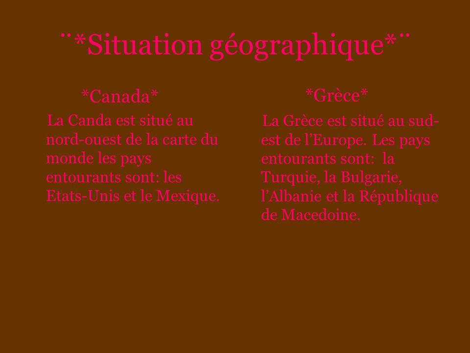 ¨*Situation géographique*¨ *Canada* La Canda est situé au nord-ouest de la carte du monde les pays entourants sont: les Etats-Unis et le Mexique. *Grè