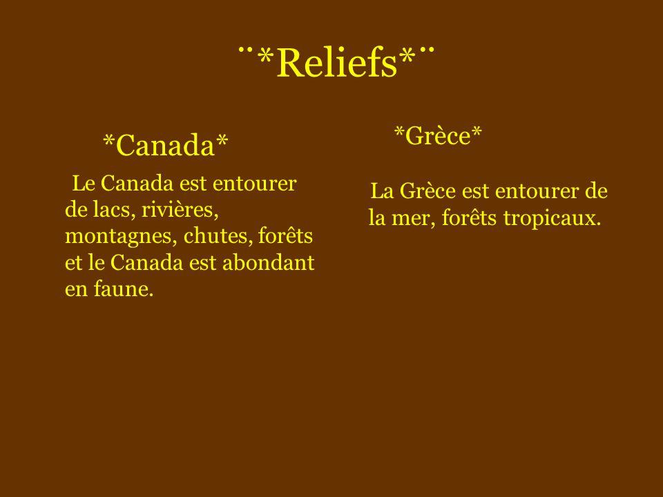 ¨*Reliefs*¨ *Canada* Le Canada est entourer de lacs, rivières, montagnes, chutes, forêts et le Canada est abondant en faune. *Grèce* L a Grèce est ent