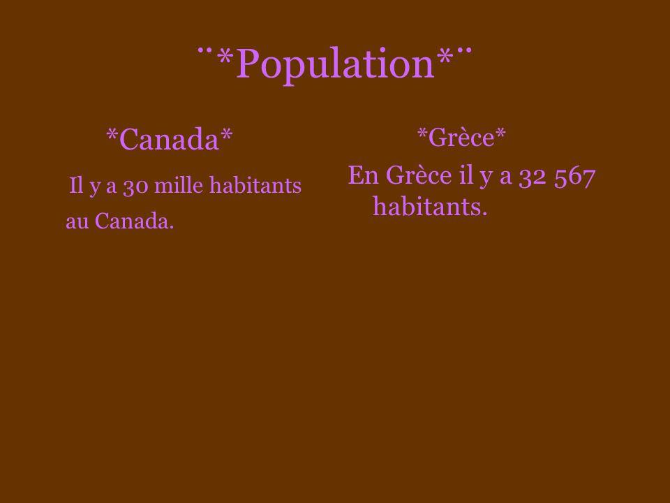 ¨*Superficie*¨ *Canada* La superficie du Canada est de 9 976 000 km2 *Grèce* 131.957 km2 dont 20% du territoire constitué de quelques 2000 îles, et sur 2000 îles il y a juste 200 qui y sont habiter!