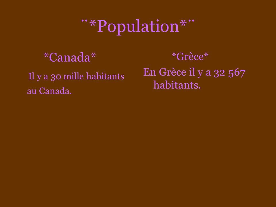 ¨*Population*¨ *Canada* Il y a 30 mille habitants au Canada. *Grèce* En Grèce il y a 32 567 habitants.