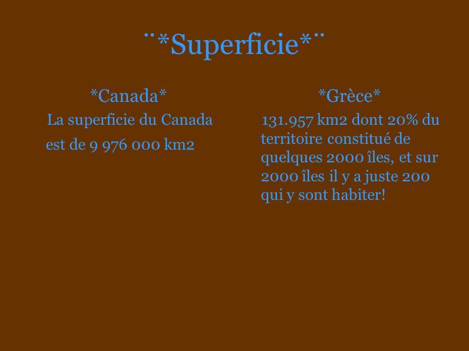 ¨*Superficie*¨ *Canada* La superficie du Canada est de 9 976 000 km2 *Grèce* 131.957 km2 dont 20% du territoire constitué de quelques 2000 îles, et su