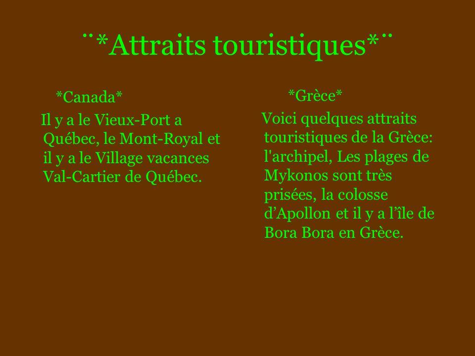 ¨*Attraits touristiques*¨ *Canada* Il y a le Vieux-Port a Québec, le Mont-Royal et il y a le Village vacances Val-Cartier de Québec. *Grèce* Voici que