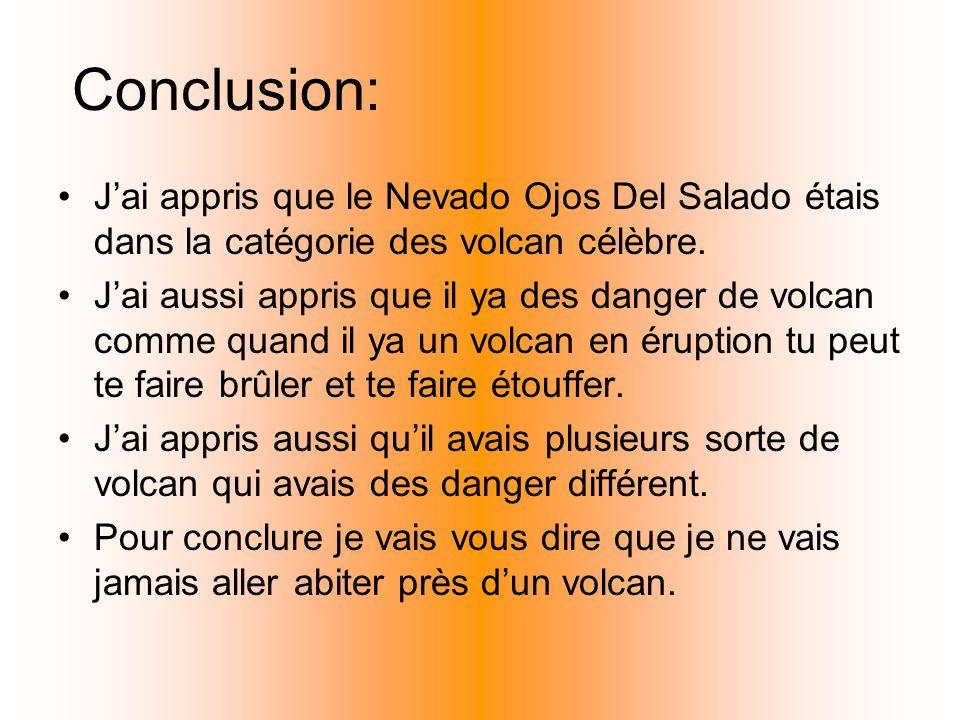 Conclusion: Jai appris que le Nevado Ojos Del Salado étais dans la catégorie des volcan célèbre. Jai aussi appris que il ya des danger de volcan comme