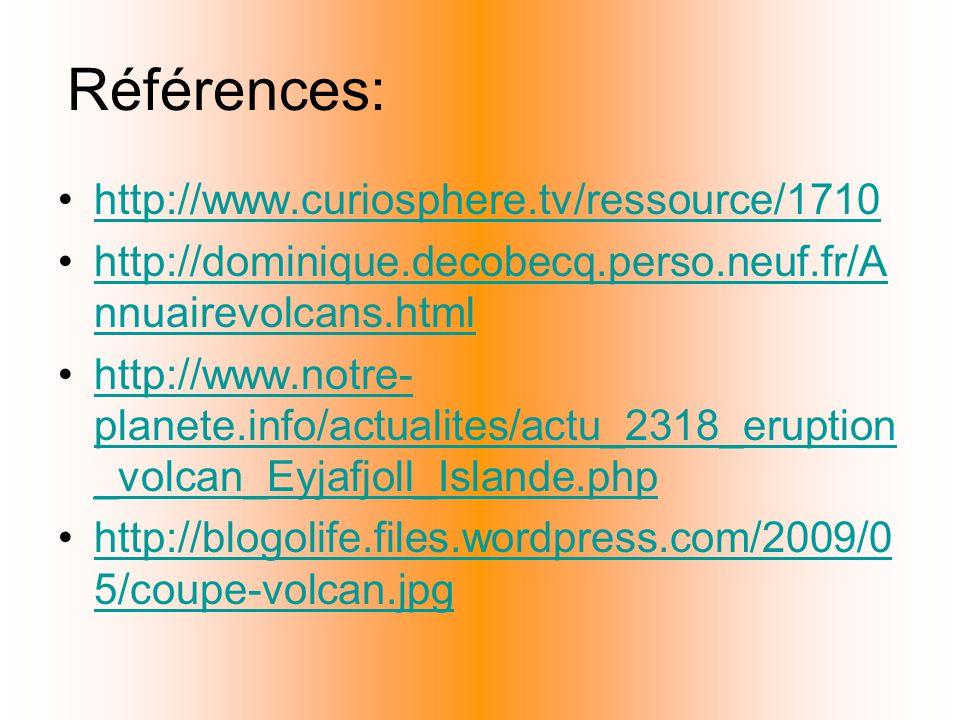 Références: http://www.curiosphere.tv/ressource/1710 http://dominique.decobecq.perso.neuf.fr/A nnuairevolcans.htmlhttp://dominique.decobecq.perso.neuf