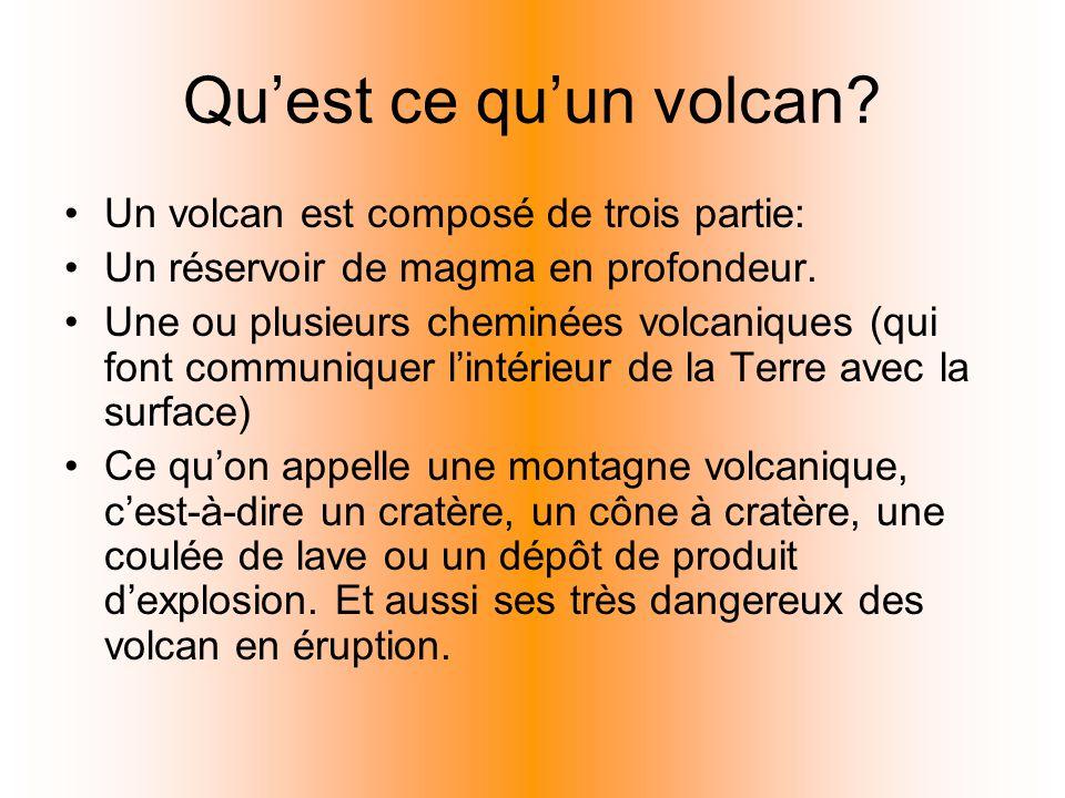 Quest ce quun volcan? Un volcan est composé de trois partie: Un réservoir de magma en profondeur. Une ou plusieurs cheminées volcaniques (qui font com