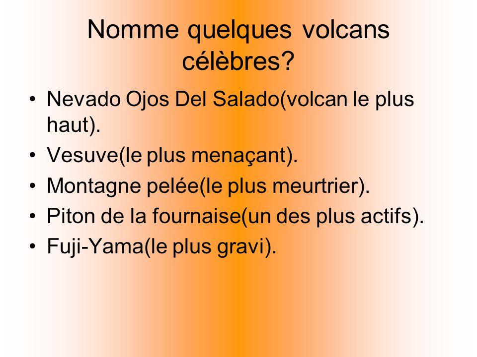 Nomme quelques volcans célèbres? Nevado Ojos Del Salado(volcan le plus haut). Vesuve(le plus menaçant). Montagne pelée(le plus meurtrier). Piton de la