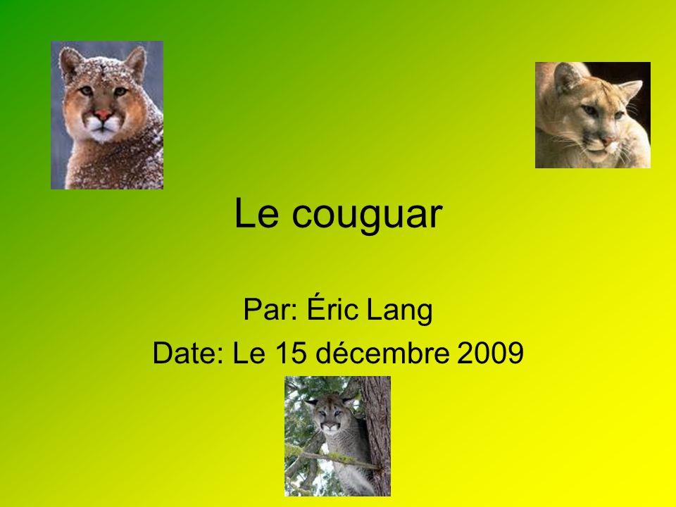 Caractéristiques Le nom scientifique du couguar est les félidés.