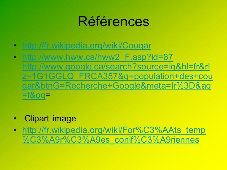 Références http://fr.wikipedia.org/wiki/Cougar http://www.hww.ca/hww2_F.asp?id=87 http://www.google.ca/search?source=ig&hl=fr&rl z=1G1GGLQ_FRCA357&q=p