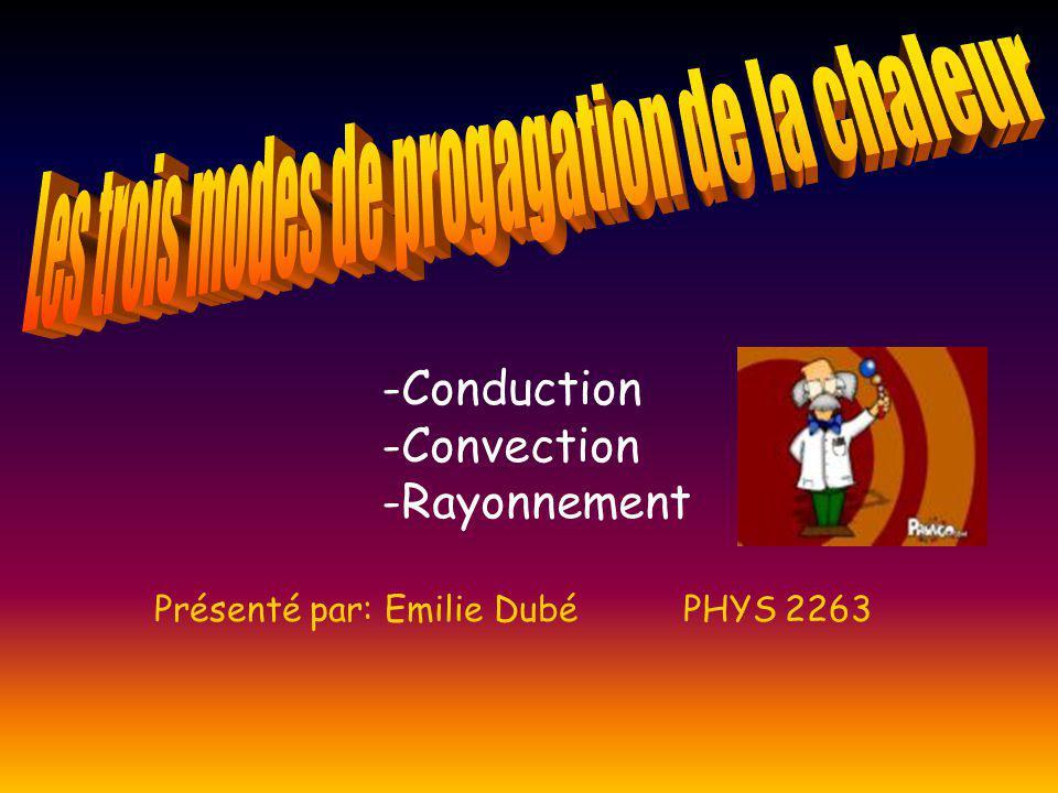 -Conduction -Convection -Rayonnement Présenté par: Emilie Dubé PHYS 2263