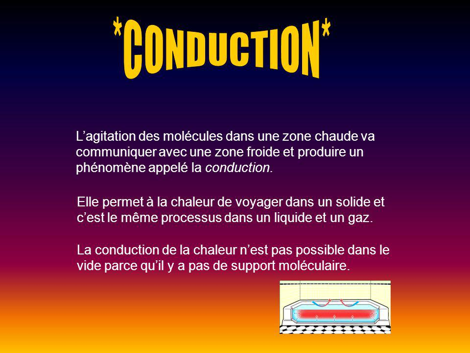 Lagitation des molécules dans une zone chaude va communiquer avec une zone froide et produire un phénomène appelé la conduction. Elle permet à la chal