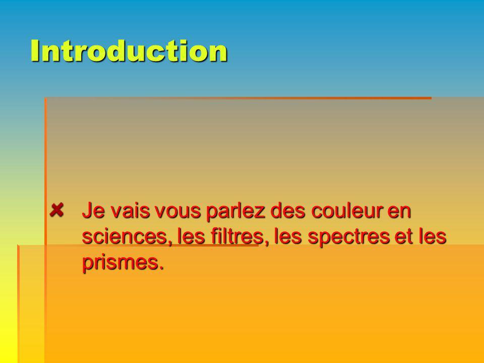 Introduction Je vais vous parlez des couleur en sciences, les filtres, les spectres et les prismes.