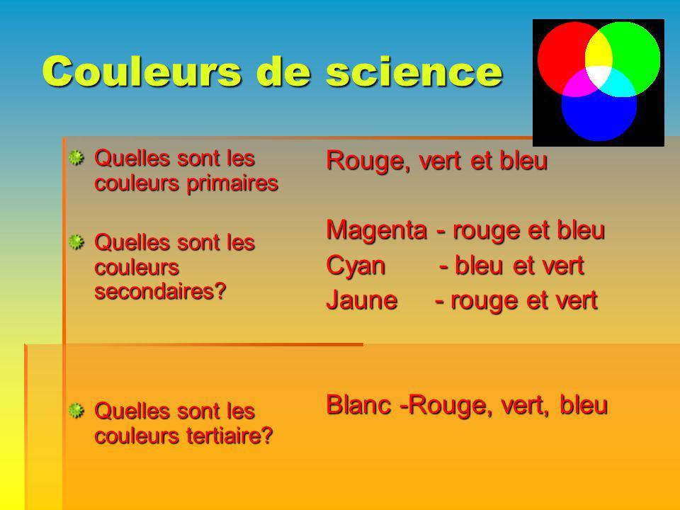 Couleurs de science Quelles sont les couleurs primaires Quelles sont les couleurs secondaires? Quelles sont les couleurs tertiaire? Rouge, vert et ble