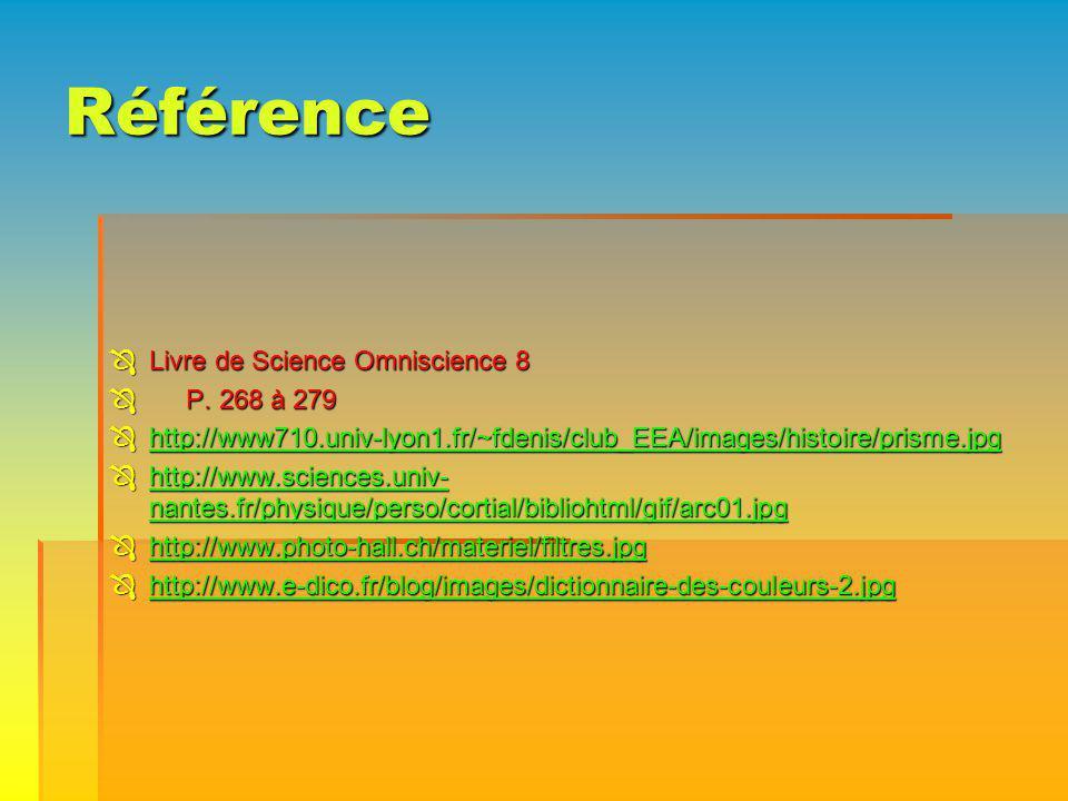Référence Livre de Science Omniscience 8 Livre de Science Omniscience 8 P. 268 à 279 P. 268 à 279 http://www710.univ-lyon1.fr/~fdenis/club_EEA/images/