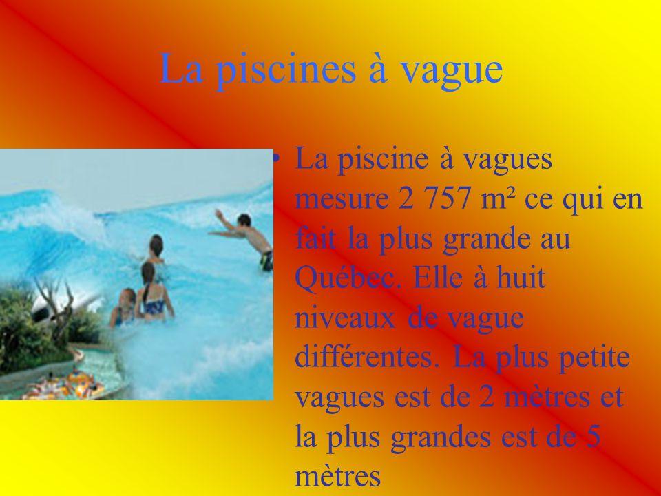 La piscines à vague La piscine à vagues mesure 2 757 m² ce qui en fait la plus grande au Québec. Elle à huit niveaux de vague différentes. La plus pet