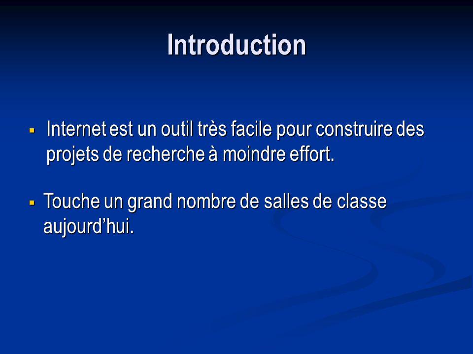Introduction Internet est un outil très facile pour construire des projets de recherche à moindre effort.