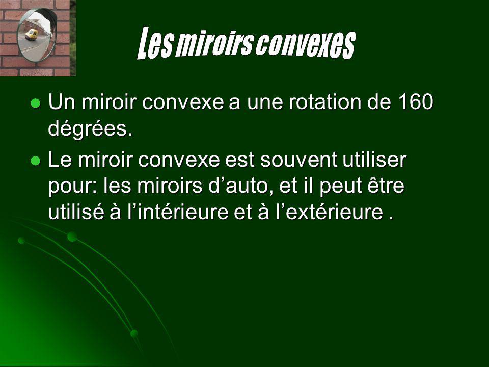 Un miroir convexe a une rotation de 160 dégrées. Un miroir convexe a une rotation de 160 dégrées. Le miroir convexe est souvent utiliser pour: les mir