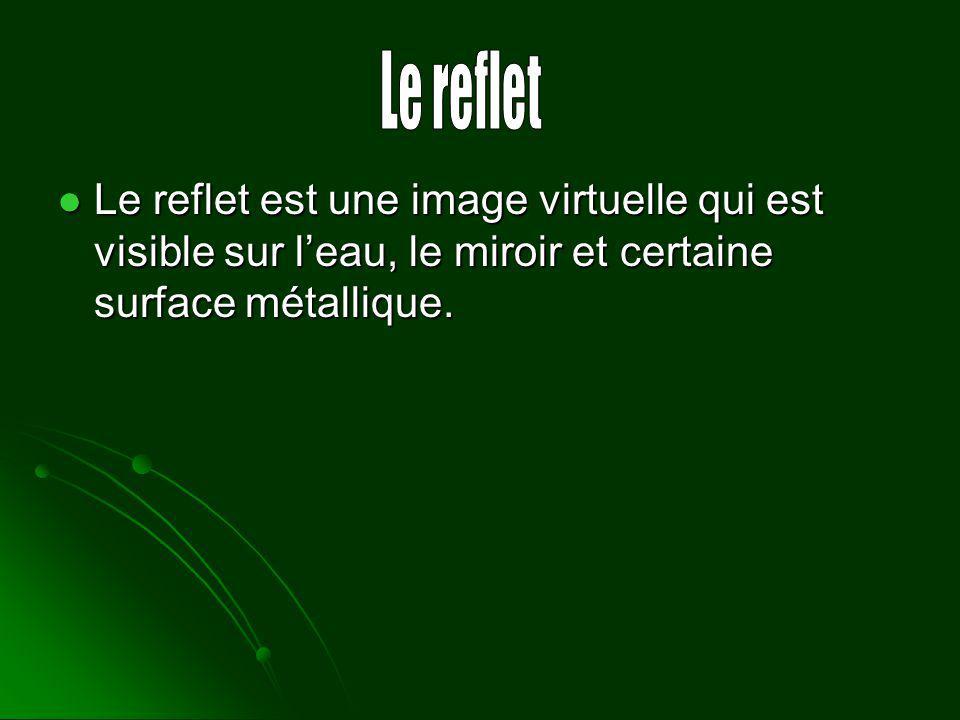 Le reflet est une image virtuelle qui est visible sur leau, le miroir et certaine surface métallique. Le reflet est une image virtuelle qui est visibl