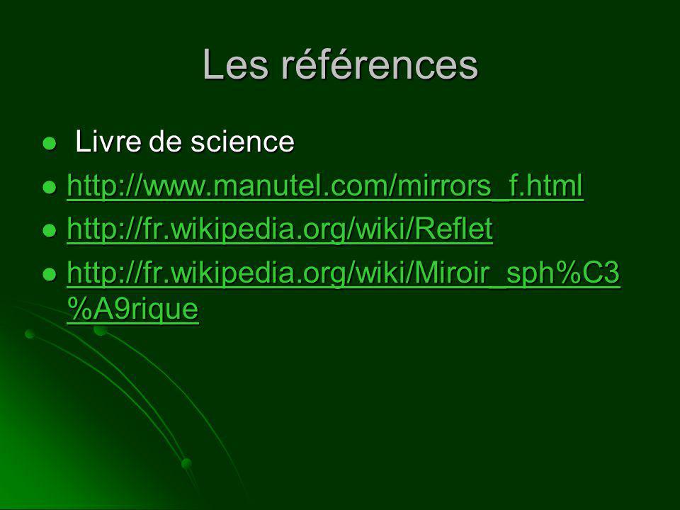 Les références Livre de science Livre de science http://www.manutel.com/mirrors_f.html http://www.manutel.com/mirrors_f.html http://www.manutel.com/mirrors_f.html http://fr.wikipedia.org/wiki/Reflet http://fr.wikipedia.org/wiki/Reflet http://fr.wikipedia.org/wiki/Reflet http://fr.wikipedia.org/wiki/Miroir_sph%C3 %A9rique http://fr.wikipedia.org/wiki/Miroir_sph%C3 %A9rique http://fr.wikipedia.org/wiki/Miroir_sph%C3 %A9rique http://fr.wikipedia.org/wiki/Miroir_sph%C3 %A9rique
