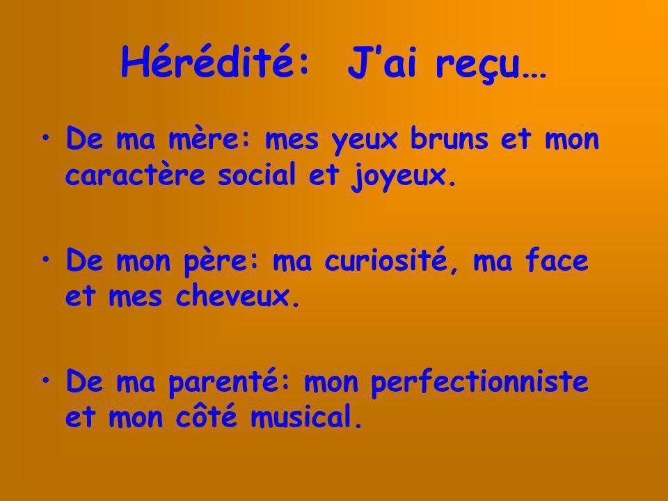Hérédité: Jai reçu… De ma mère: mes yeux bruns et mon caractère social et joyeux. De mon père: ma curiosité, ma face et mes cheveux. De ma parenté: mo