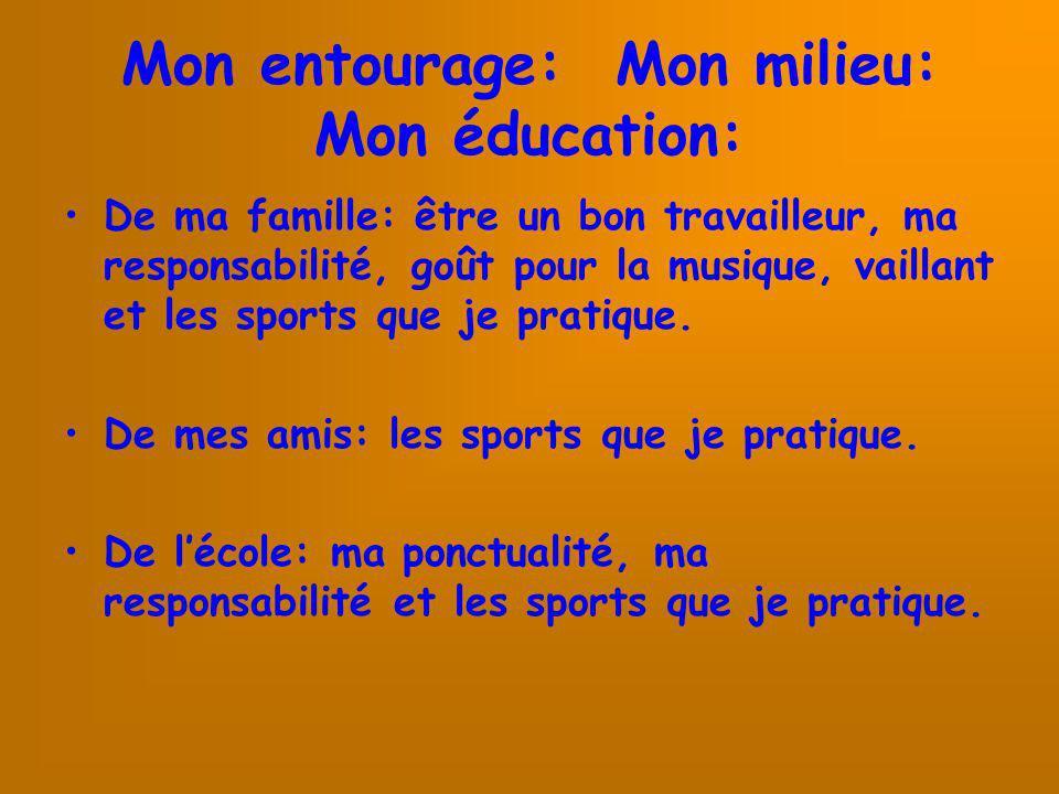 Mon entourage: Mon milieu: Mon éducation: De ma famille: être un bon travailleur, ma responsabilité, goût pour la musique, vaillant et les sports que