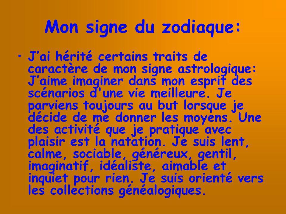 Mon signe du zodiaque: Jai hérité certains traits de caractère de mon signe astrologique: Jaime imaginer dans mon esprit des scénarios d'une vie meill