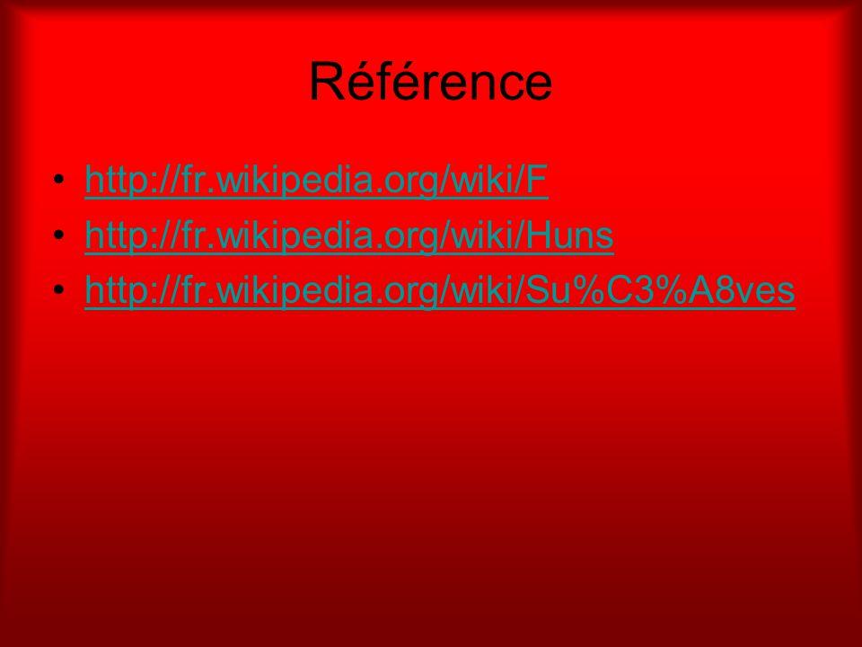 Référence http://fr.wikipedia.org/wiki/F http://fr.wikipedia.org/wiki/Huns http://fr.wikipedia.org/wiki/Su%C3%A8ves
