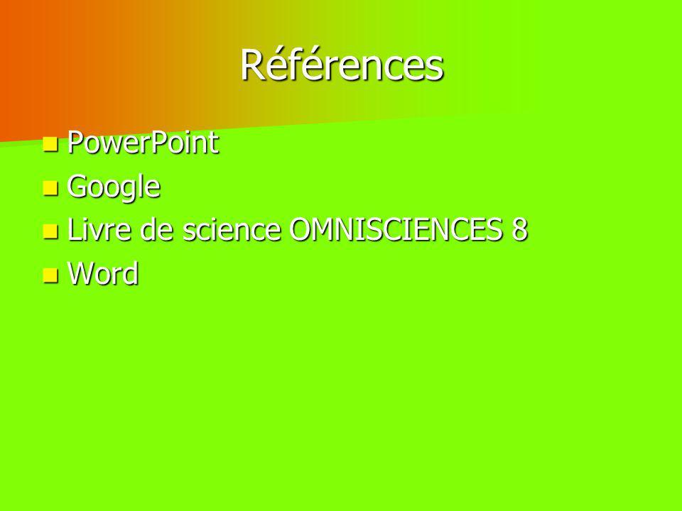 Références PowerPoint PowerPoint Google Google Livre de science OMNISCIENCES 8 Livre de science OMNISCIENCES 8 Word Word
