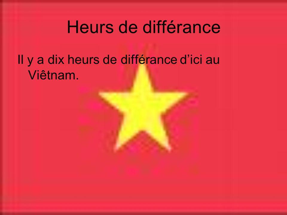 Heurs de différance Il y a dix heurs de différance dici au Viêtnam.